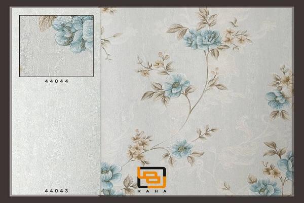 کاغذ دیواری گلدار آبی
