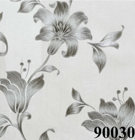 کاغذدیواری گل نقره ای
