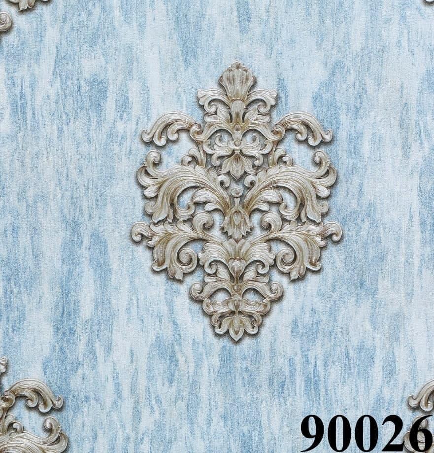 کاغذ دیواری داماسک آبی